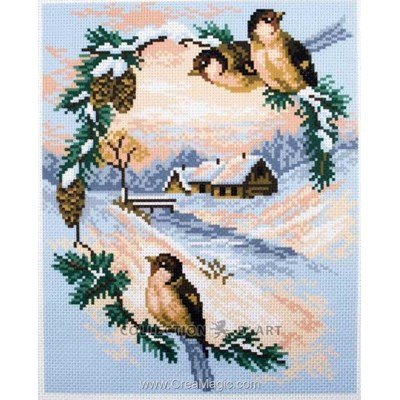 Kit broderie imprimée aida sparrows - Collection d'art