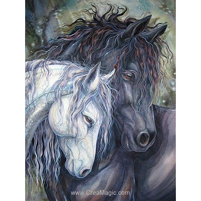 Broderie diamant pair of horses - Diamond Painting