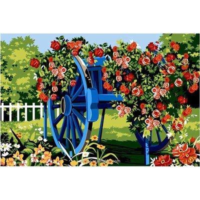 La charue bleue fleurie canevas chez SEG