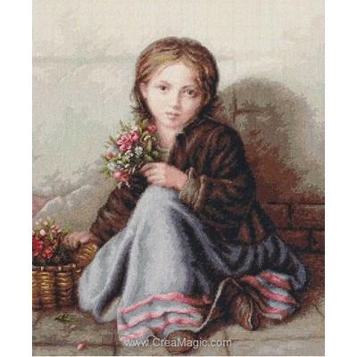 Portrait de petite fille kit Luca-S à broder au point de croix