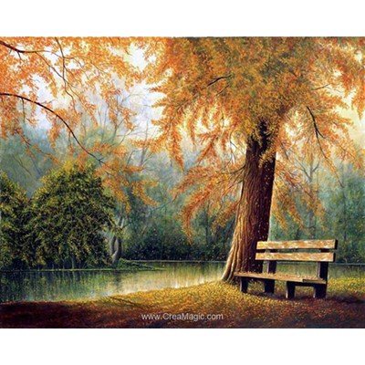 Kit broderie diamant le banc sous l'arbre - Diamond Painting
