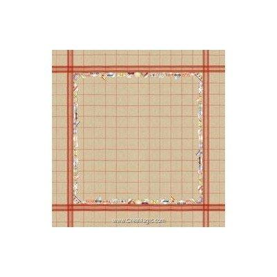 Kit nappe à broder au point de croix bols à carreaux rouge 180x180 de Le Bonheur Des Dames