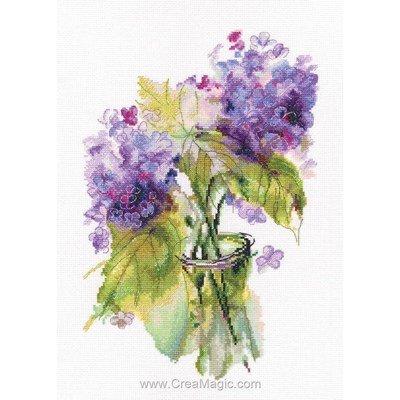 Broderie au point de croix compté fleurs hortensias de RTO