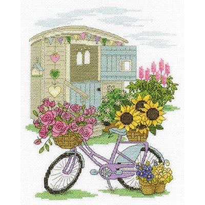 Le point de croix bicyclette aux fleurs de DMC