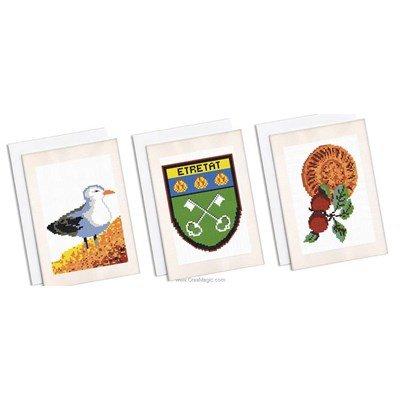 Carte à broder lot de 3 cartes souvenir d'etretat de Marie Coeur