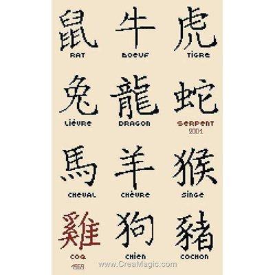 Modèle Aux 4 Points Du Monde au point de croix les signes du zodiaque en chine