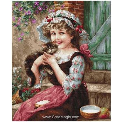 Le point de croix le petit chaton de la fillette - Luca-S
