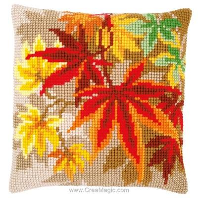 Kit coussin Vervaco au point de croix feuilles d'automne