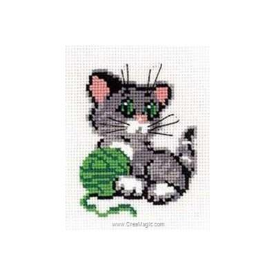Mini point de croix chaton et pelote verte de RIOLIS