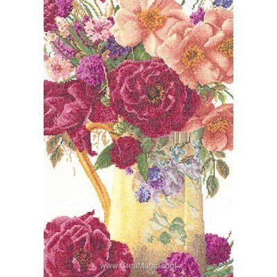 Tableau broderie point de croix Thea Gouverneur rose bouquet sur lin