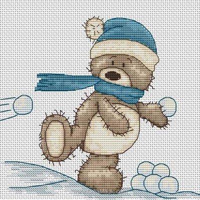 Modèle au point de croix bruno & boule de neige - Luca-S