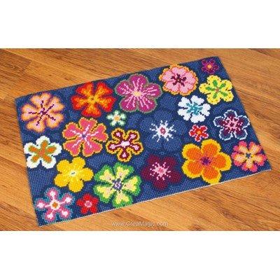 Kit tapis au point de croix fleurs multicolores de Vervaco