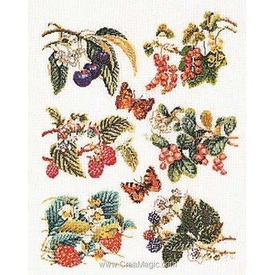 Fruit panel sur lin broderie point compté - Thea Gouverneur