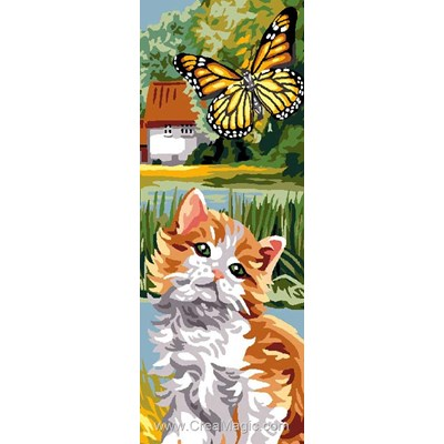 Luc Création canevas chat angora et papillon