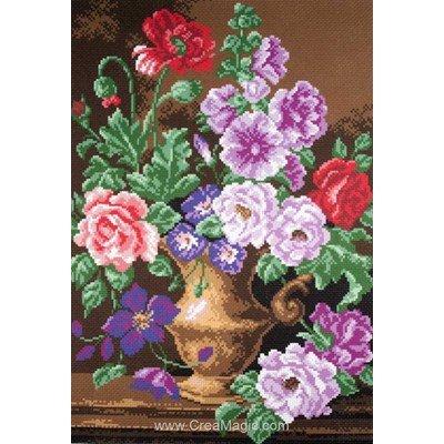 Kit broderie imprimée bouquet en vase sur aida Collection d'art