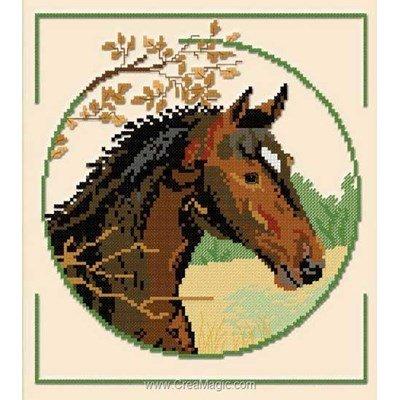 Kit à broder Aux 4 Points Du Monde cheval au sortir du bois