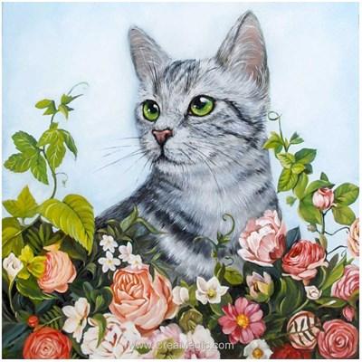 Kit broderie diamant chat gris dans les fleurs de Wizardi