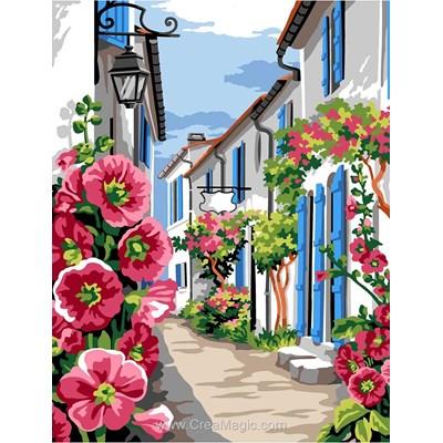 La ruelle aux roses tremières canevas - Margot
