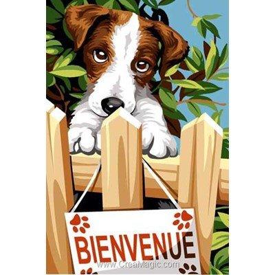 Canevas chien bienvenue à la barrière de SEG