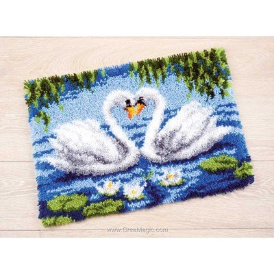 Kit tapis point noue 2 cygnes de Vervaco