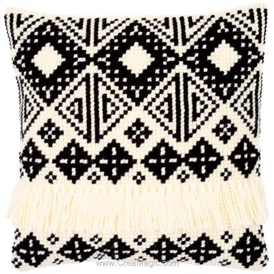 Kit coussin au point de croix ethnique en noir et blanc - Vervaco