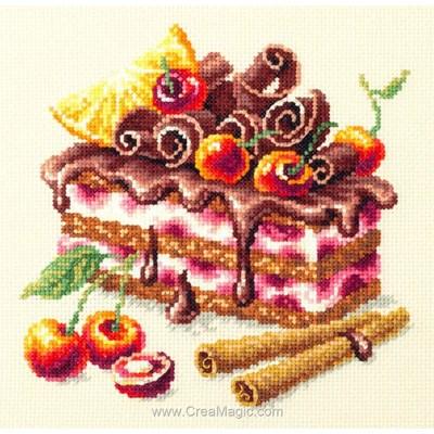 Le gâteau gourmand cerise canelle et chocolat tableau broderie point de croix - Magic Needle