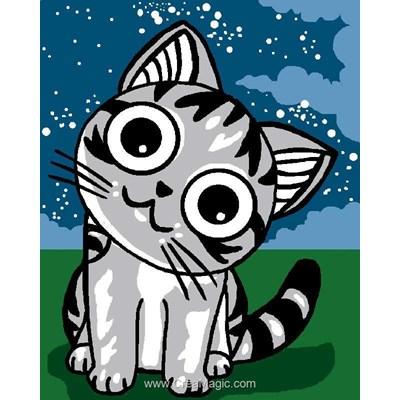 Kit canevas pour enfants chat kawaii - Luc Création