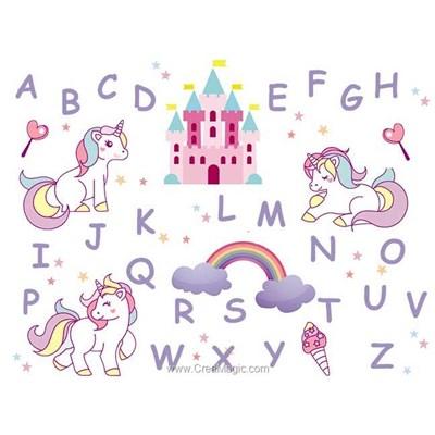 Broderie imprimée en kit abc les licornes de Princesse