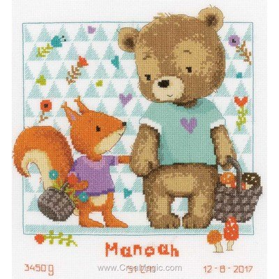 Tableau de naissance à broder ours & écureuil en promenade de Vervaco