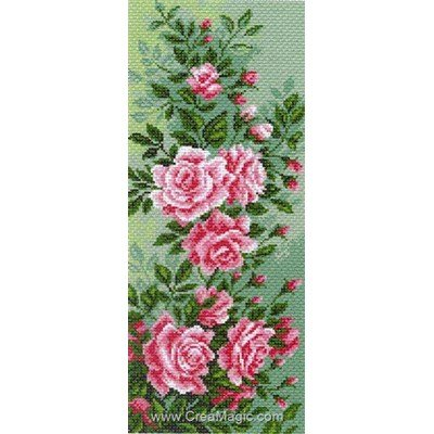Kit broderie aida imprimée roses rose climbing - Collection d'art