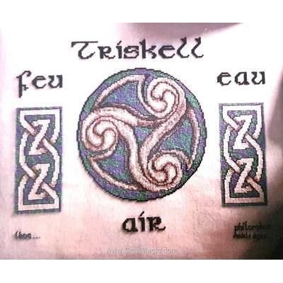 Kit point de croix de Philomene à broder triskell bleu