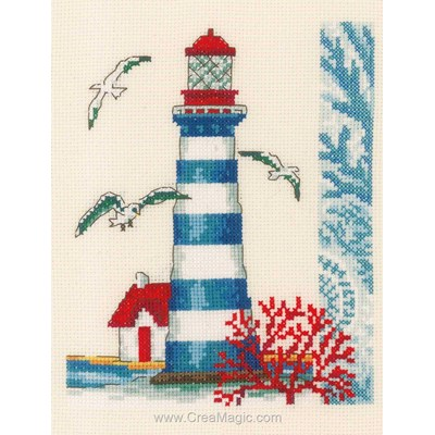 Kit broderie point compté le phare rayé et corail rouge - Vervaco