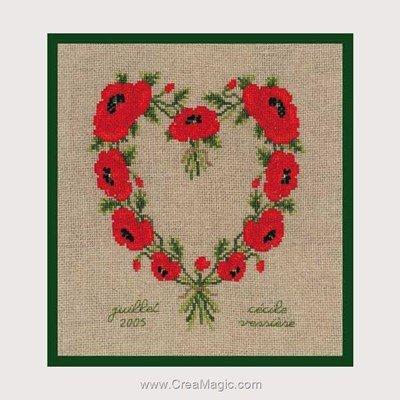 Kit à broder point de croix coeur en coquelicots - Le Bonheur Des Dames