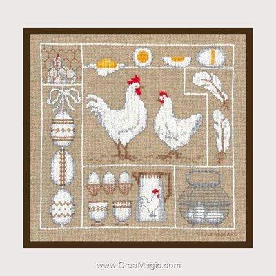 Poules blanches et oeufs modèle au point de croix - Le Bonheur Des Dames