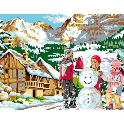 Jouons dans la neige canevas chez Luc Création