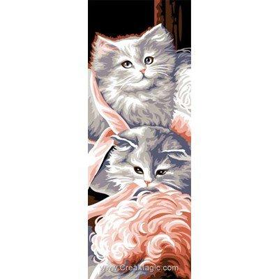 Chats, plumes et rubans canevas chez Luc Création