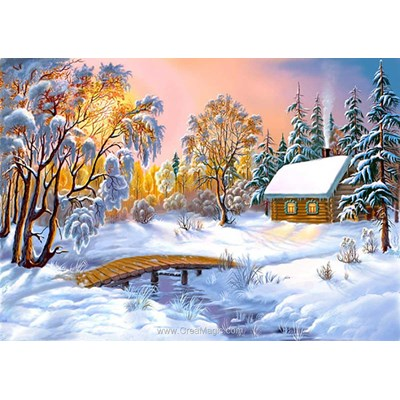 Kit broderie diamant house in the winter forest de Diamond Painting