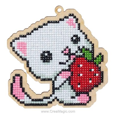 Broderie diamant kitten with strawberry de Wizardi