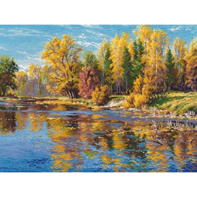 Kit Oven à broder au point de croix lac en automne