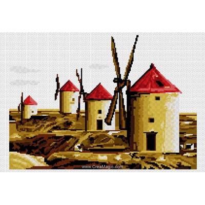 Kit à broder au point de croix les moulins - Luc Création