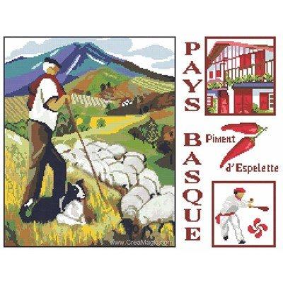 Broderie au point de croix vue du pays basque - Marie Coeur