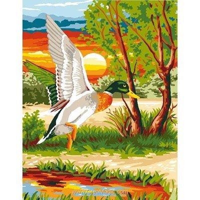 L'envolée du canard canevas chez Luc Création