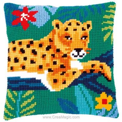 Kit coussin au point de croix Vervaco le repos du leopard
