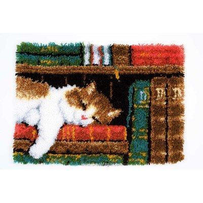 Kit tapis point noué chat sur étagère - Vervaco