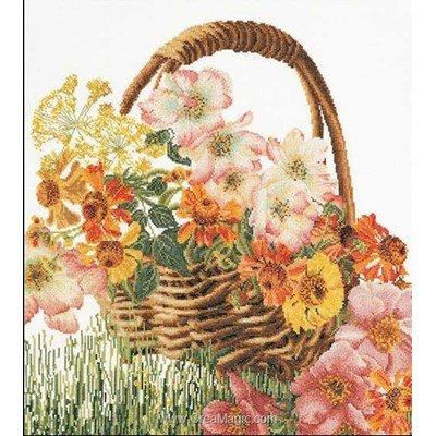Kit tableau point de croix Thea Gouverneur panier fleuri sur lin