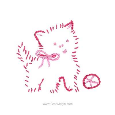Broderie imprimée chaton rose - Au Fil De L'Ange