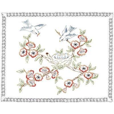 Kit napperon en broderie traditionnelle les oiseaux de Luc Création