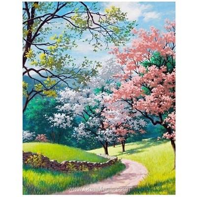 Broderie diamant promenade sous les arbres en fleurs - Wizardi