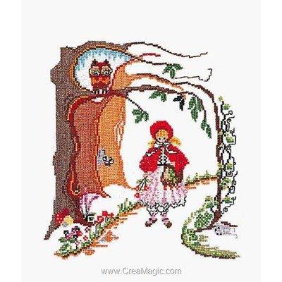 Le petit chaperon rouge sur lin modèle point de croix - Thea Gouverneur