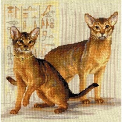 Modèle broderie point de croix chats abyssiniens de RIOLIS